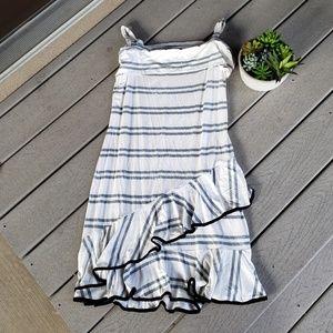 Venus White Striped Ruffled Summer Tank top Dress